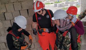 Female LFB firefighters in Tajikistan